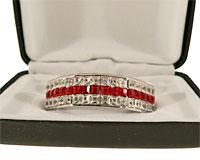 Grillz i sølv med røde og hvide sten