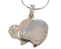 Sølvhalskæde med to hjerte