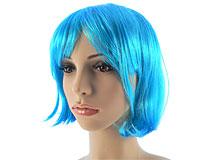 Neon blå kort paryk