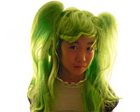 Festlig lang grøn paryk