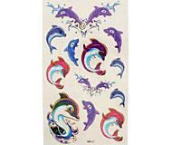 Se mere om Tatoveringer til b�rn med delfiner i mange flotte farver i web-butikken