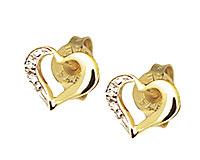 Se mere om Bee ørestikker af 9 kt guld med hjerte belagt med diamanter i web-butikken