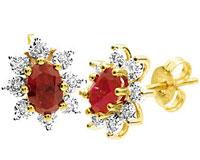 Se mere om Bee ørestikker i 9 kt guld med syntet rubin og diamanter i web-butikken