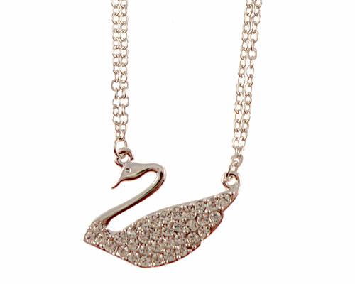 Se mere om halskæde i kobberfarve med vedhæng af svane i web-butikken