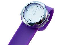 Se mere om Bredt silikone armbåndsur i lilla farve  i web-butikken