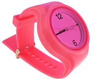 Se mere om Stort pink silikone sportsur med rund urkasse og lilla urskive i web-butikken