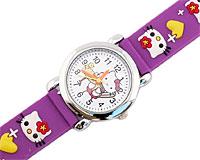 Se mere om Hello Kitty ur i lilla farve med hvide Hello Kitty og gule hjerter i web-butikken