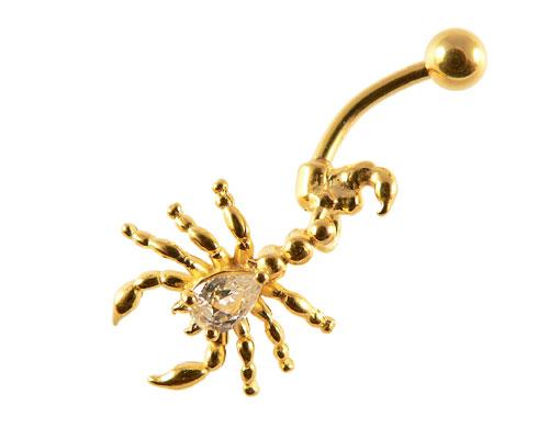 Se mere om guldbelagt navle piercing af skorpion i web-butikken
