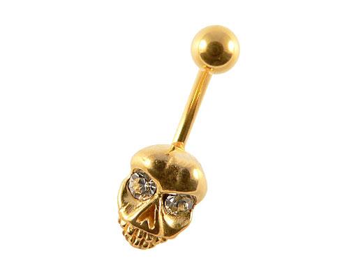 Se mere om guldbelagt navle piercing med sejt dødningehoved klare øjne i web-butikken