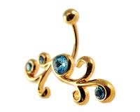 Se mere om Guldbelagt navle piercing med lyseblå sten i web-butikken