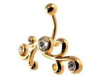 Se mere om Guldbelagt navle piercing med klare sten i web-butikken