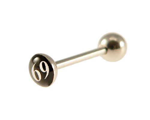 Se mere om tunge piercing med 69 motiv i sort og hvid i web-butikken