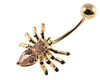 Se mere om Navlepiercing i 14 Karat guld af edderkop med lyserød sten i web-butikken