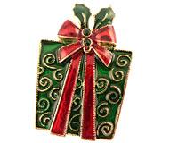 Se mere om Broche af gave i grøn farve med rød sløjfe i web-butikken