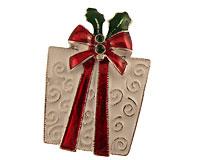 Se mere om Broche af gave i hvid farve med rød sløjfe i web-butikken