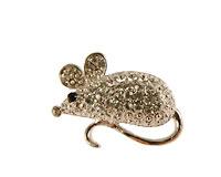 Se mere om Broche af lille sølvfarvet mus med hvide sten i web-butikken