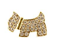 Se mere om Broche af sød lille guldfarvet hund med hvide sten i web-butikken