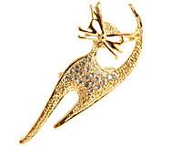 Se mere om Katte broche i guldfarve med klare sten i web-butikken