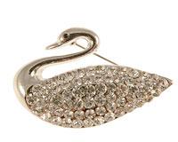 Se mere om Broche af svane i sølvfarve med hvide sten i web-butikken