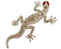 Se mere om Broche af lizard med røde sten som øjne i web-butikken