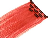 Se mere om 2 sæt med 60 cm langt Clip On hår i rød farve i web-butikken