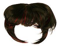 Se mere om Clip On Pandehår i sort farve med røde stænk  i web-butikken