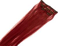 Se mere om 2 sæt med 60 cm langt Clip On hår i rødbrun  farve i web-butikken