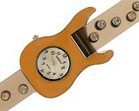 Se mere om Sejt dameur med orange guitar og sten på remmen i web-butikken