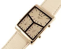 Se mere om Stort dameur med hele tre ure i frækt design med hvid rem i web-butikken