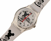 Se mere om Disney ur med Mickey Mouse hvid rem med sorte Mickey figurer i web-butikken