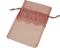 Se mere om Lille lyserød gennemsigtig snørepose i web-butikken