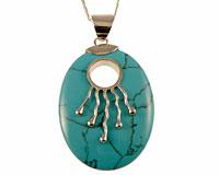 Se mere om Halskæde med turkis oval sten i web-butikken