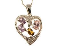 Se mere om Halskæde af sølv med hjerte vedæng med lyserøde og gullig sten i web-butikken