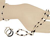 Se mere om Halskæde sæt fra Donna Bella af sølv er betrukket med sterling sølv (825)  og udsmykning i sort farve.  i web-butikken