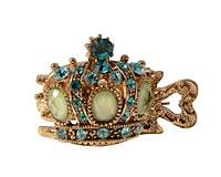 Se mere om Lille hårnæb af kongekrone med lyseblå og grøn sten i web-butikken