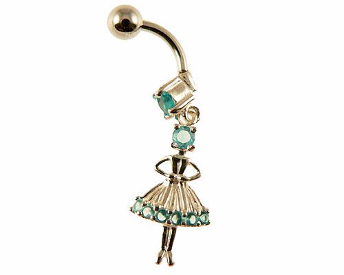 Se mere om  navle piercing af sølv med en daser pige i web-butikken