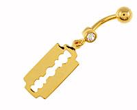 Se mere om Guldbelagt navle piercing med barberblad i web-butikken