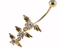 Se mere om Navlepiercing i 14 Karat guld med tre vedhæng med vinger med klare sten i web-butikken