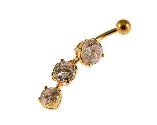 Se mere om navlepiercing med guldbelægning med tre vedhæng med hvide sten i web-butikken