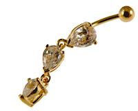 Se mere om Navlepiercing med guld med tre vedhæng i web-butikken
