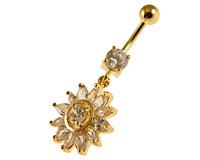 Se mere om Guldbelagt navle piercing med solsikkevedhæng med hvide sten i web-butikken
