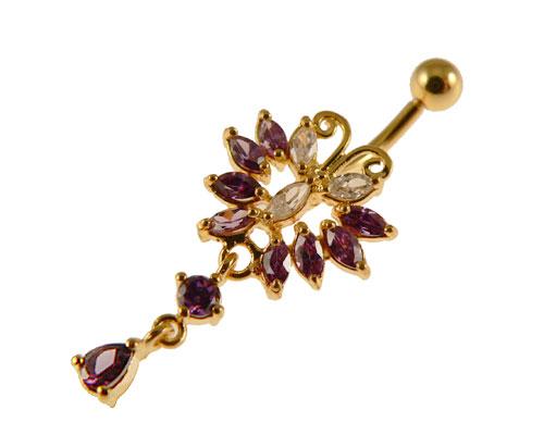 Se mere om navle piercing i guld med sommerfugl med hale i web-butikken
