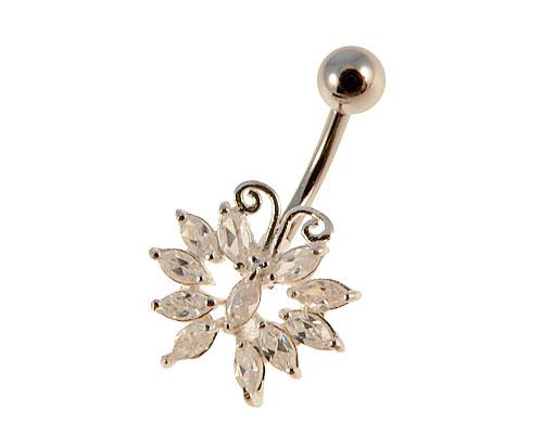 Se mere om sommerfugle navlepiercing af sølv med klare sten i web-butikken
