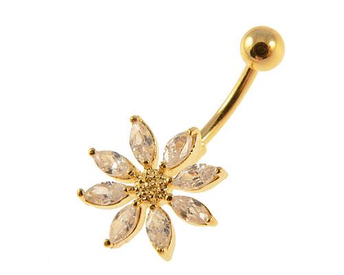 Se mere om flot guldbelagt navle piercing med blomst med klare sten i web-butikken