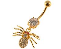 Se mere om Navlepiercing af edderkop med klare sten og røde øjne. i web-butikken