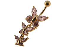 Se mere om Navle piercing i flot design med vedhæng med tre sommerfulge i lilla sten i web-butikken