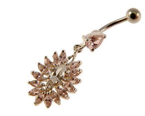 Se mere om elegant design navlepiercing vedhæng med en flot blomst med lysrøde sten i web-butikken