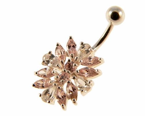 Se mere om navlering af 925 sølv i flot design med lyserøde og klare sten i web-butikken