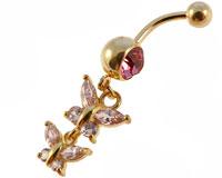 Se mere om Navle piercing i flot design med vedhæng med to sommerfulge i lyserøde sten i web-butikken