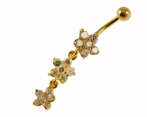 Se mere om navle piercing i flot design med vedhæng med tre blomster i klare sten i web-butikken